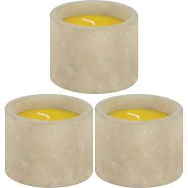 10x geurkaarsen citronella tegen muggen in betonnen houder 8,5 x 7 cm 10 branduren