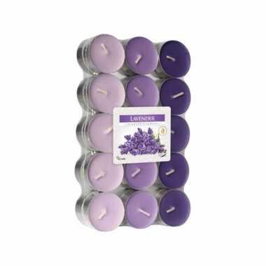 120x stuks waxinelichtjes/theelichten lavendel geurkaarsen 4 branduren