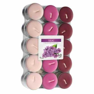 120x stuks waxinelichtjes/theelichten lilac geurkaarsen 4 branduren