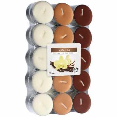 120x stuks waxinelichtjes/theelichten vanille geurkaarsen 4 branduren