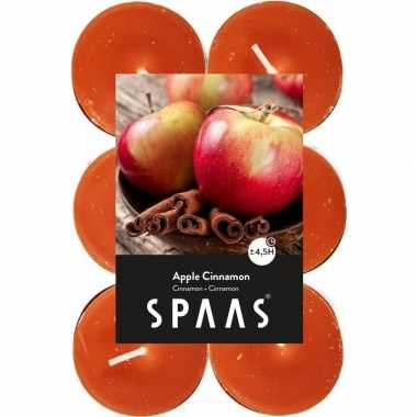 12x geurgeurkaarsen apple cinnamon/oranje 4,5 branduren