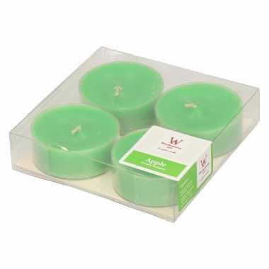 12x maxi geurgeurkaarsen appel/groen 8 branduren