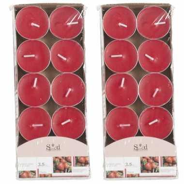 20x geurgeurkaarsen aardbei/rood 3,5 branduren