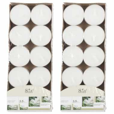 20x geurgeurkaarsen jasmijn/wit 3,5 branduren
