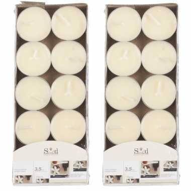 20x geurgeurkaarsen vanille/cremewit 3,5 branduren