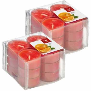 24x geurgeurkaarsen sinaasappel/oranje 4 branduren
