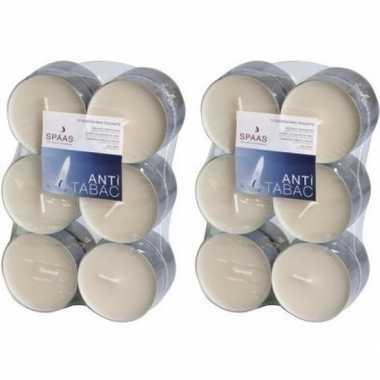 24x maxi geurgeurkaarsen anti tabak/vanille geur 10 branduren