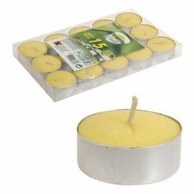 30x stuks citronella theelichten anti muggen kaarsjes