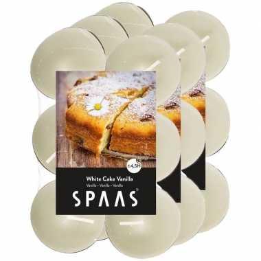 36x geurgeurkaarsen white cake vanilla/wit 4,5 branduren
