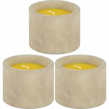3x geurkaarsen citronella tegen muggen in betonnen houder 8,5 x 7 cm 10 branduren