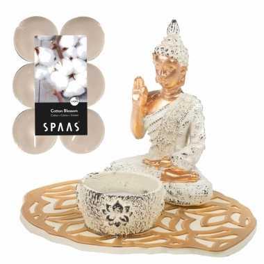 Boeddha beeld voor binnen 15 cm met 12x geurkaarsen cotton blossom