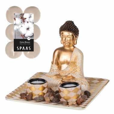 Boeddha beeld voor binnen 21 cm met 12x geurkaarsen cotton blossom