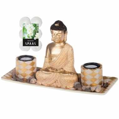 Boeddha beeld voor binnen 31 cm met 12x geurkaarsen spiritual jasmin