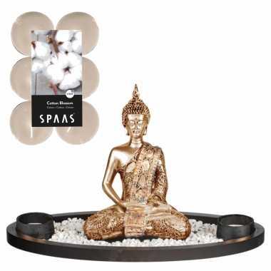 Boeddha beeld voor binnen 33 cm met 12x geurkaarsen cotton blossom
