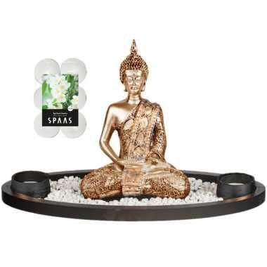 Boeddha beeld voor binnen 33 cm met 12x geurkaarsen spiritual jasmin