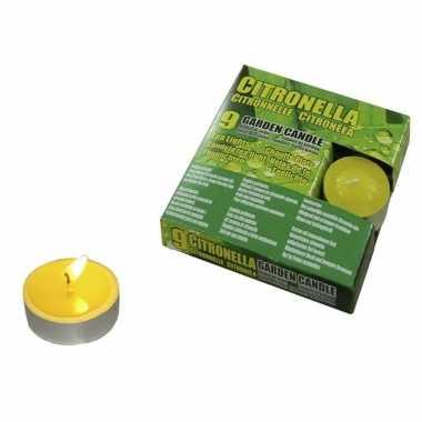 Set van 9x stuks anti muggen waxinelichtjes citronella