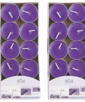 20x geurgeurkaarsen lavendel paars 3 5 branduren