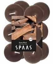 24x geurgeurkaarsen exotic wood taupe 4 5 branduren