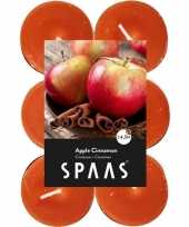 48x geurgeurkaarsen apple cinnamon oranje 4 5 branduren