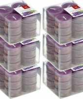 72x geurgeurkaarsen lavendel paars 4 branduren