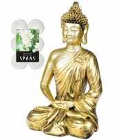 Boeddha beeld voor binnen 35 cm met 12x geurkaarsen spiritual jasmin 10290843