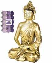 Boeddha beeld voor binnen 35 cm met 30x geurkaarsen lavendel 10290828